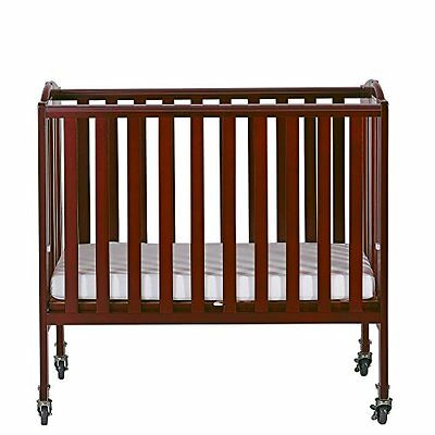 Dream On Me 2-in-1 Folding Birch Portable Crib Cherry, New