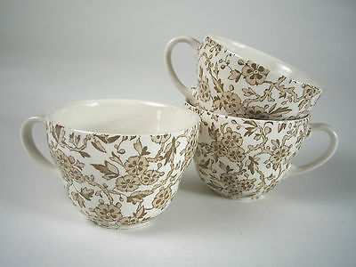 3 BURLEIGH Staffordshire ARDEN Olive LARGE Breakfast CUPS England IRONSTONE Mint