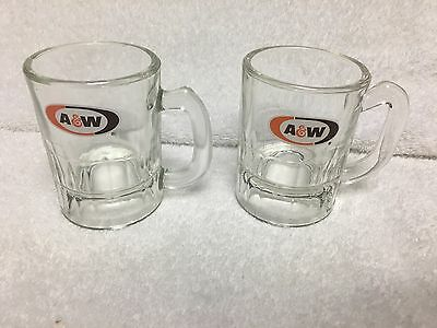 Lot of 2 Small Vintage A&W Root Beer Glass Mugs