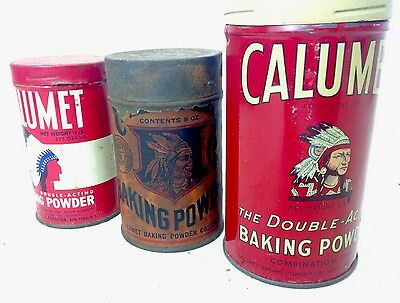 Lot of 3 Different Vintage CALUMET Baking Powder Tins Cans Indian Litho