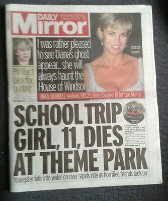 Daily Mirror Newspaper-May 10 2017- Princess Diana Ghost House of Windsor.