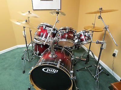 Pdp X7 Acoustic Drum Set Maple Red To Black Fade 650 00 Picclick