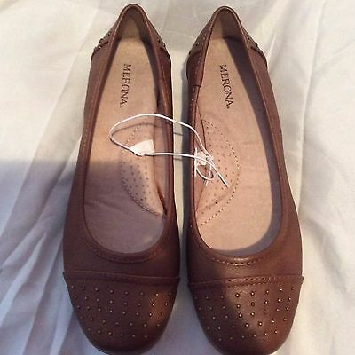 New Merona Women's Brown FAUX Leather Ballet Flats Slip On Loafer shoes Size 7 M