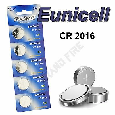 5 x EUNICELL High Quality CR2016 Button Coin Cell Batteries R2016 DL2016 2016