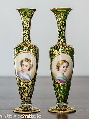 PAIR ANTIQUE BOHEMIAN ENAMELLED & GILT GLASS VASES Antique Medallion Portraits
