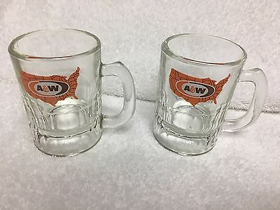 Lot of 2 Small Vintage A&W Root Beer USA Map Glass Mugs Thin Handle