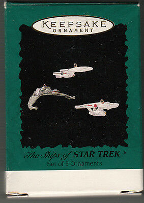1995 Hallmark Ornament  THE SHIPS OF STAR TREK   Miniature set of 3