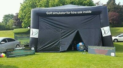 Golf simulator hire for parties and events in weather proof marquee