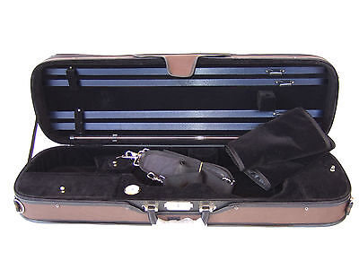 *NEW* Deluxe 4/4 Brown/Black Rectangular Violin Case *Many Features*