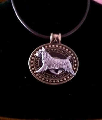 Australian Terrier  Dog Brass Medallion on leather cord~necklace