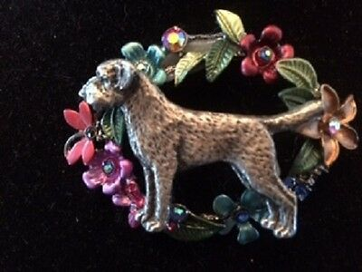 Border Terrier Enamel Flower Brooch~ Unique!