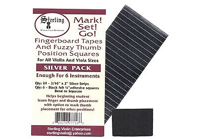 Sterling-Mark!Set!Go! SILVER Violin/Viola Fingerboard Tapes & Felt Thumb Squares