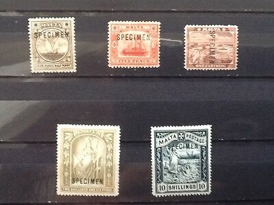 Malta 1889 set of five Overprint Specimen Mint LH SG31s/SG35s VG