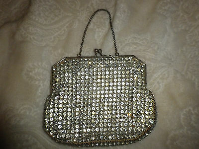 Vintage~Rhinestone~Evening Purse~Chain Handle~Mirror~1940's
