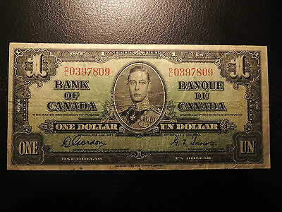 1937 BANK OF CANADA $ 1 ONE DOLLAR GORDON TOWERS D/L 0397809 BC-21c