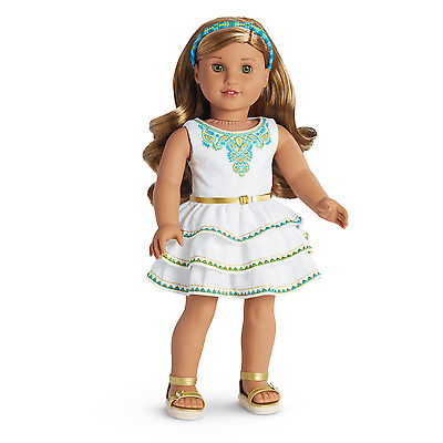 American Girl Doll Lea's Celebration Outfit~STUNNING Party Dress Gold Accents