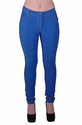 Womens Stretch Casual Slim Skinny Plain Jeggings Slim Fit Trousers Denim Jeans