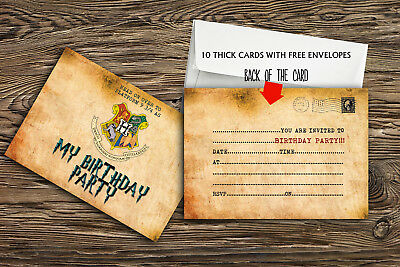 Birthday Party Invitations Harry potter, X 10 THICK CARDS + Free Envelopes-