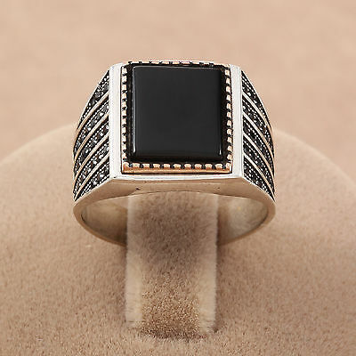 Turkish Handmade Square Black Onyx Stone 925 REAL Sterling Silver Men's Ring NEW