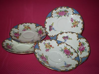 """5 Vintage Aynsley Blue """"wilton"""" Pattern Saucers With Gold Trim & Pink Roses"""