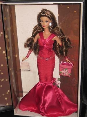 RARE 2004 Barbie BIRTHDAY WISHES Silver Label Red Gown Barbie Long Brown Hair