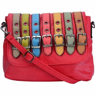Womens Faux Leather Belt Buckle Multi Color Fashion Purse Shoulder Bag Handbag