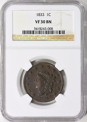 1833 Coronet Head Large Cent NGC VF-30 N-1 R-2