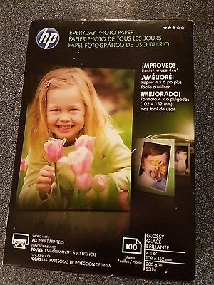 """HP Everyday Photo Paper - Glossy - 4""""x6"""" 100sheets ***NEW & SEALED***"""