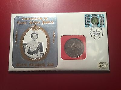 Great Britain 1977 Royal Silver Jubilee Cover and Coin First Day  (ND066)