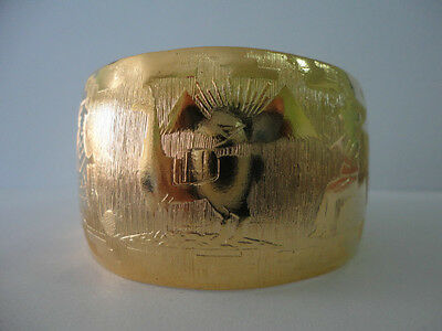 Peruvian Bracelet Cuff Bangle Engraved Gold Tone Metal Ethnic New Art Peru
