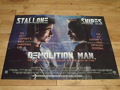 Demolition Man Original Uk Quad Poster, Sylvester Stallone Wesley Snipes