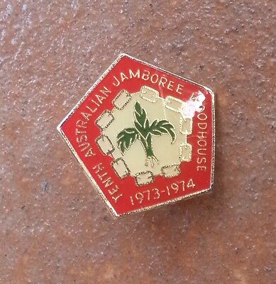 1973 10th AUSTRALIAN  JAMBOREE WOODHOUSE VICTORIA BOY SCOUTS BADGE