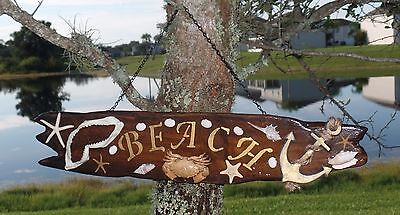 BEACH WOODEN HANDMADE SIGN Nautical Home Cabin Decor Shark Starfish Seashells GO