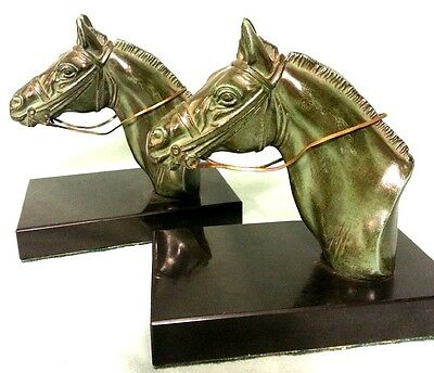 Antique French Art Deco  Equestrian  Bookends Signed By Artist M. Leducq