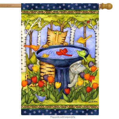 "Birdbath Visitor House Flag Birds Cats Spring Decorative Large Banner 28"" x 40"""