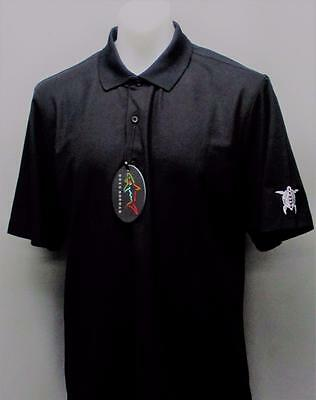 New Mens Greg Norman Play Dry polyester Black golf polo shirt Large