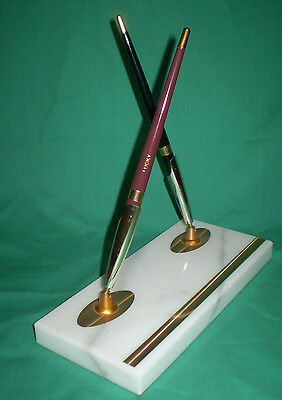 Vintage Lucky Marble Twin Pen Stand