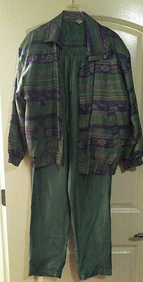 2-Pc Vtg Bomber Jacket Silk Windbreaker TRACK SUIT Pants Coaco 80s 90s Sz Small