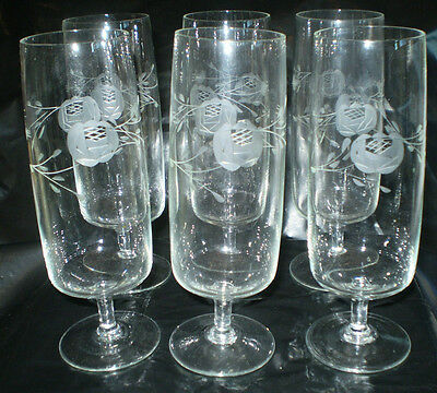 6 Etched Crystal Stemmed Champagne Glasses/flutes With  Flower & Spray Pattern