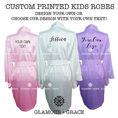 CUSTOM Personalised Kids Printed Satin Robe Childrens Dressing Gown Wedding