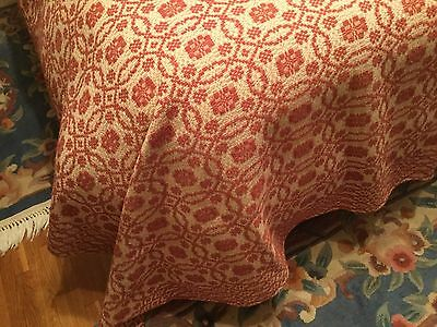 "Antique Coverlet Hand Woven By ""the Goodwin Guild"" Red Oval &square Pattern"