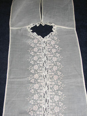 Vintage Ivory Lace & Embroidery on Organdy Edwardian Victorian Collar Overlay