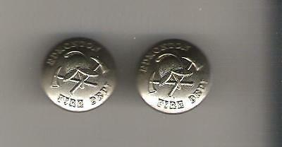 "Edmonton Fire Department = Lot of 2 metal Buttons - 7/8"" - made by Gaunt London"