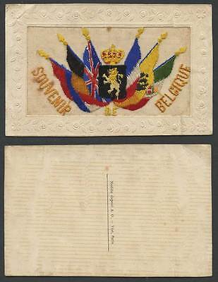 WW1 SILK Embroidered Old Postcard Souvenir Belgique Belgium Flags & Coat of Arms