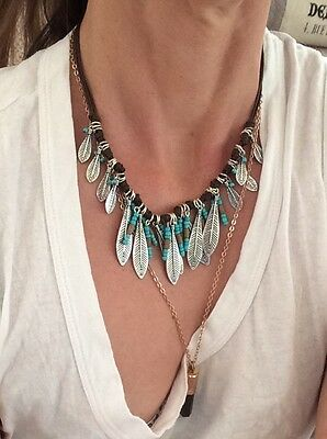 indian tribal feather turquoise choker necklace boho