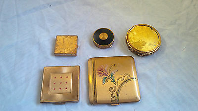 5 Vintage Gold Tone Mirrored from Various Companies Ladies Powder Compacts