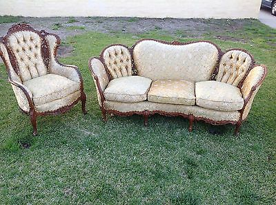 Vintage Wooden Carved  French Sofa And Couch Kidney Style