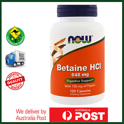 NOW Foods Betaine HCl 648mg 120 Capsules- Digestive Enzyme - AUS STOCK