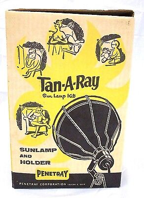 Vintage WORKING 1960's Penetray Tan-A-Ray Tanning Sun Lamp Kit USA In Box EUC