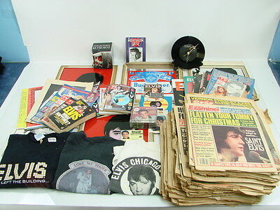 Huge Lot of  Elvis Presley Collectible Magazines Books Newspapers T-Shirts Clock
